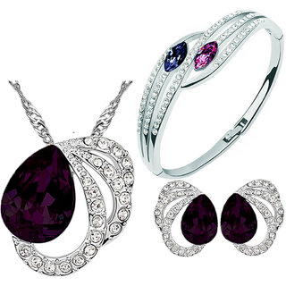 Cyan Purple Colour Austrian Crystal Necklace Set Combo Design 1