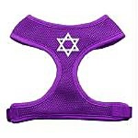 Mirage Pet Products Star Of David Screen Print Soft Mesh Dog Harnesses, X-Large, Purple