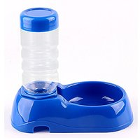 LENDOO Pet Automatic Water Dispenser Food Dishes Dog Bowl Cat Feeder Bottle Water Drinking Fountain 400ML (Blue)