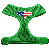 Mirage Pet Products Eagle Flag Screen Print Soft Mesh Dog Harnesses, X-Large, Emerald Green