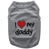 Parisian Pet I Love Daddy Dog T-Shirt, Medium
