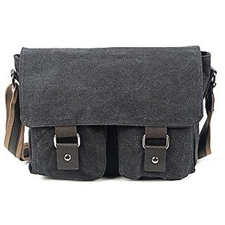 Vintage Cotton Canvas Crossbody Messenger Bag School Bag for Men and Women (black)