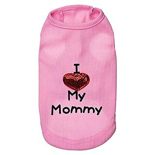 WEI QIU Pet I Love My Mommy T-shirt Top Summer Dog Outfits Apparel Costume Shirt Teacup Dog Clothes Large Pink