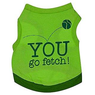 WEI QIU Pet Dog Puppy Top Jacket Clothes Apparel Fetch the Ball Pattern Sheer T Shirt Sweatshirt Small Green