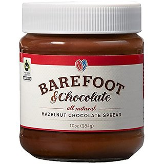 Barefoot & Chocolate - Chocolate Hazelnut Spread (10oz Jar) - All Natural and Fair Trade!
