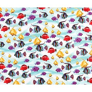 SheetWorld Fitted Oval (Stokke Mini) - Exotic Fish Aqua - Made In USA