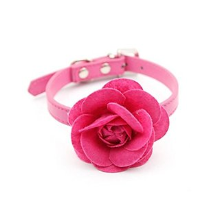Namsan Big Velveteen Flower with PU Leather Puppy Collars - Rose -Small