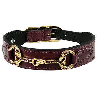 Hartman & Rose Horse and Hound Dog Collar, 18 to 20-Inch, Wine