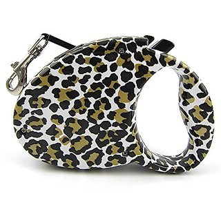 Retractable Leash,Dog Leash for Puppy Dog Cat 10 Foot Size No Tangle Training Pet Rope (Leopard)