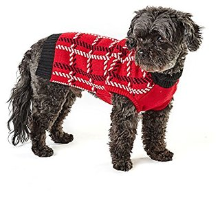 Hotel Doggy DW00061BPXXXLR Cranberry Red Intarsia Sweater, 3X-Large