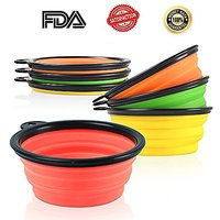 Travel Dog Bowls Collapsible Pet Bowl With Carabiner Food Water Bowl Bright Lovely Colors Non Skid Set Of 3