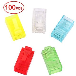 Postta RJ45 CAT5 CAT5E CAT6 Connector 8P8C UTP Gold Plated Ethernet Crystal Head 5 Colors 100 Pieces