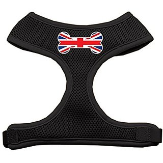 Mirage Pet Products Bone Flag UK Screen Print Soft Mesh Dog Harnesses, X-Large, Black