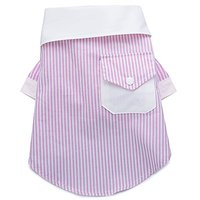 Chill Pups Pink And White French Contrast Striped Dog Dress Shirt By United Pups (Large)