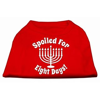 Mirage Pet Products Spoiled for 8 Days Screen Print Dog Shirt, X-Small, Red
