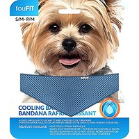 Blue Small Size Dogs, FouFit Extra Absorbent Cooling Bandana For Dogs, 100% Non-Toxic Lightweight Material, Relieves Hea