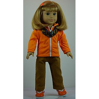 Fun Orange & Gold 6 pc Pants Outfit includes Shoes and fits 18 inch American Girl dolls.