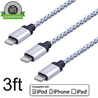 ONSON Lightning Cable,3Pack 3FT Nylon Braided 8pin to USB Sync Data and Charging Cable Cord with Alumnium Heads for iPho