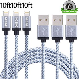 ONSON iPhone Cable,3Pack 10FT Nylon Braided Lightning Cable USB Cord Charging Cable for iPhone 7/7 Plus,6/6S/6 Plus/6S P