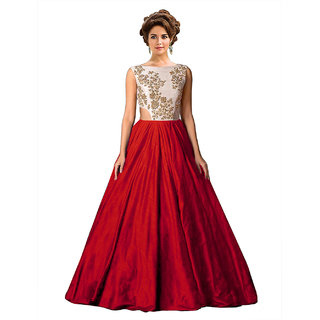 Ethnic Basket Red Embroidered Silk Gown