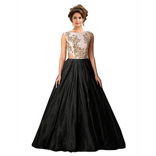 Ethnic Basket Black Embroidered Silk Gown
