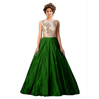 Ethnic Basket Green Embroidered Silk Gown