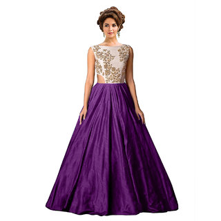 Ethnic Basket Purple Embroidered Silk Gown