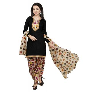Ethnic Basket Black Printed Crepe Unstitched Dress Material