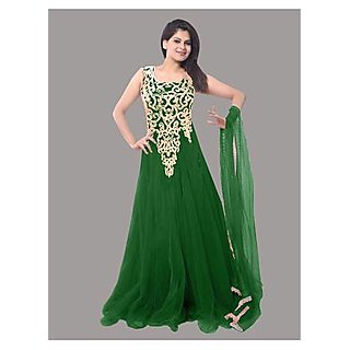 Ethnic Basket Green Embroidered Net Gown