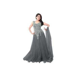 Ethnic Basket Gray Embroidered Net Gown