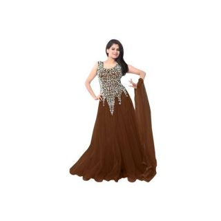Ethnic Basket Brown Embroidered Net Gown
