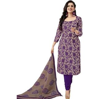 Ethnic Basket Purple Printed Art Silk Unstitched Dress Material