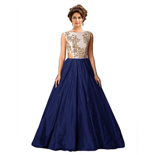 Ethnic Basket Blue Embroidered Silk Gown