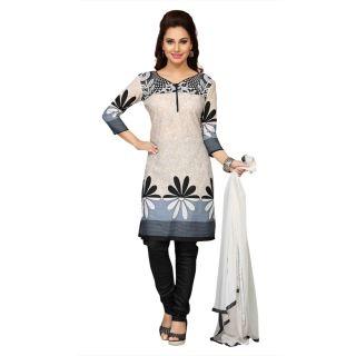 Ethnic Basket Beige Printed Georgette Unstitched Dress Material