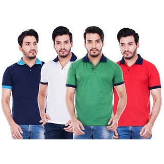 Roxy Star Men's Polo Neck T-shirts Pack of 4