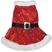"""Zack & Zoey Mrs. Claus Sequin Dress For Dogs, 12"""" Small, Red"""