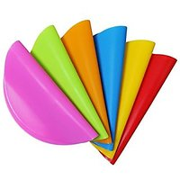 """Yilove 6pcs Premium Silicone Placemat Round 12.6"""" For Table, Cat And Dog (Red,Orange,Yellow,Green,Blue,Pink)"""