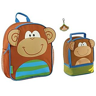 Stephen Joseph Boys Mini Monkey Backpack and Lunch Box with Zipper Pull