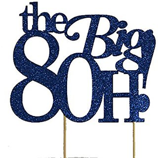 All About Details Blue The Big 8OH! Cake Topper