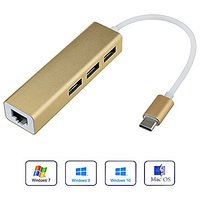 ProCIV Type-C To 3-Port USB 3.0 Hub With 10/100/1000 Gigabit Ethernet Adapter For USB Type-C Devices Including The New M
