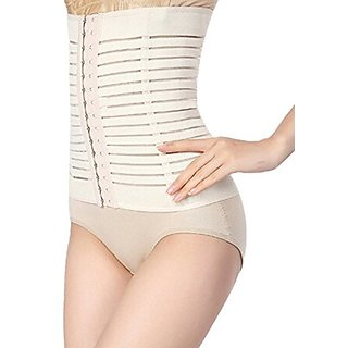 Healthcom Postpartum Abdomen Slimming belt Waist Tummy Trimmer Belt Slimming Body Shape Cummerbund Shaper Belt,White(Siz