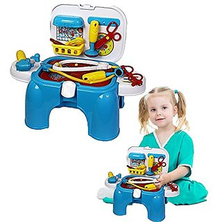 Toy Cubby Kids Play Doctor Storage Chair Medical Tools Play Set - 9 Doctor Tools