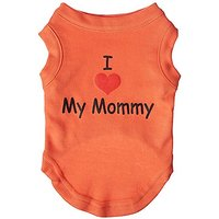 Mirage Pet Products 10-Inch I Love My Mommy Screen Print Shirts For Pets, Small, Orange