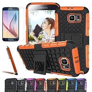 Galaxy S6 Case, CINEYO(TM) heavy Duty Rugged Dual Layer Case with kickstand (Samsung Galaxy S6 case Black) (Orange)