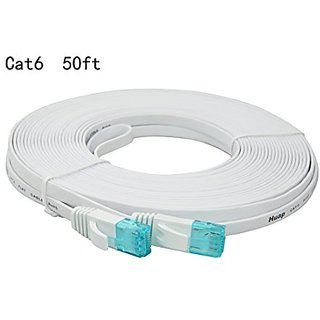Cat6 Ethernet Cable 50 Feet,Blue Snagless RJ45 Flat CAT6 Patch Cable - White - 50FT