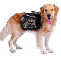 PETLESO Dog Hiking Backpack Harness Camouflage Saddlebag For Medium Or Large Dog