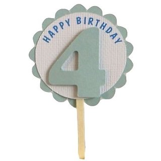 All About Details Shimmer Light Blue 4th Birthday Cupcake Toppers, Set of 12