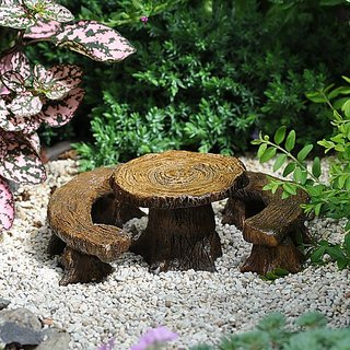 Miniature Fairy Garden Tree Stump Table with 2 Benches