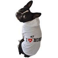 Ruff Ruff And Meow Dog Hoodie, I Love My Mommy, White, Medium