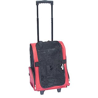 ALEKO Pet Travel Rolling Luggage Carrier Bag Backpack for Dogs & Cats, Red
